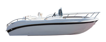 New motor speedboat. Isolated over white Stock Photo