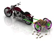 New motorcycle carries varicoloured old wagon cart with gold Stock Images