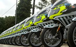 New motorcycles for guardia civil Stock Image