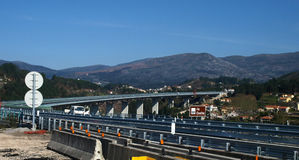 New motorway A4 Portugal. North Portugal new motorway A4 at Amarante. Marão mountains as background stock photo