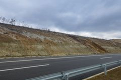 New motorway under construction with clouds. New motorway under construction with dramatic clouds royalty free stock images