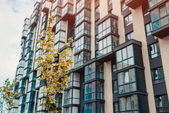 New multi-storey residential building. Modern house Royalty Free Stock Image