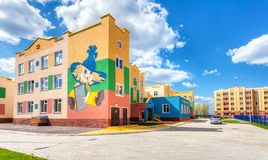 New multicolored kindergarten in Residential District South City Stock Images
