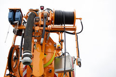 New multipurpose industrial combine machine. Multipurpose industrial combine machine- construction, asphaling, hydraulic hose, toilet discharge system, crane Royalty Free Stock Image