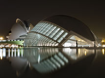 New Museums in Valencia. Night Scene of the new museums in the city of Valencia (Spain), built by the architect Santiago Calatrava Stock Images