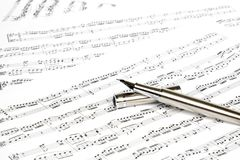 New music composing concept with pen Royalty Free Stock Photography