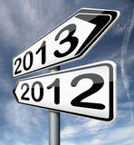 New next year 2013 last 2012. New year 2013 next and previous years the future starting from the end of 2012 road sign arrow stock illustration