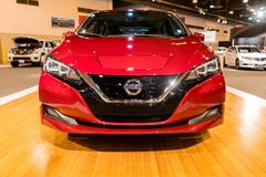 New 2018 Nissan LEAF electric car. HOUSTON, TEXAS - JANUARY 28, 2018: New 2018 Nissan LEAF electric car shown at the Houston Auto Show Stock Images