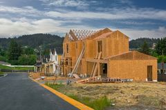 New North America Subdivision Home Construction Royalty Free Stock Image