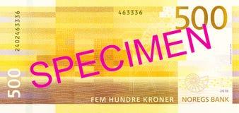 New 500 norwegian krone banknote reverse. Specimen stock photography