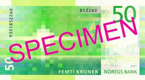 New 50 norwegian krone banknote reverse. Specimen royalty free stock photography
