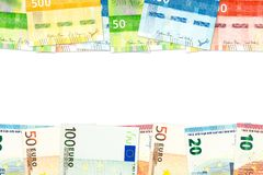 New norwegian krone and euro banknotes indicating bilateral economic relations with copy space royalty free stock photography