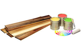 New oak parquet and paints Stock Photography