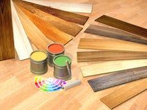 New oak parquet and paints Stock Image