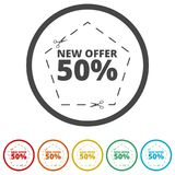 New offer 50%, Commerce concept, 6 Colors Included. Simple  icons set Stock Photos