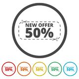 New offer 50%, Commerce concept, 6 Colors Included. Simple vector icons set Stock Photos