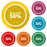 New offer 50%, Commerce concept icon, color icon with long shadow. Simple vector icons set Stock Images