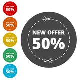 New offer 50%, Commerce concept. Simple vector icons set Royalty Free Stock Images