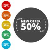 New offer 50%, Commerce concept. Simple  icons set Royalty Free Stock Images