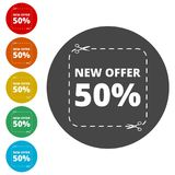 New offer 50%, Commerce concept. Simple vector icons set Stock Photography