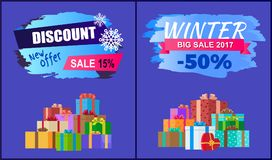 New Offer Discount Winter 2017 Big Sale Set Gifts. New offer discount - 15 winter 2017 big sale - 50 set of vector banners with advert labels and mountain of Vector Illustration