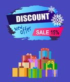 New Offer Discount - 15 Winter 2017 Sale Vector. Banner with advert label and mountain of gift boxes isolated on blue background, wrapped presents Royalty Free Illustration