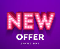 New offer sign. Retro light signboard banner with glowing bulbs Stock Photo