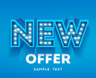 New offer sign. Retro light signboard banner with glowing bulbs. Vector illustration Royalty Free Stock Image