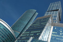 New office development in sunshine at Moscow City stock photos