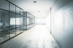 New office hallway. Interior with equipment, city view and daylight. 3D Rendering Royalty Free Stock Images