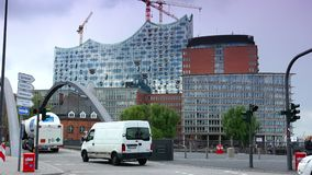 New office and residence buildings at the Sandtorkai in Hamburg stock footage