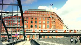 New office and residence buildings at the Sandtorkai in Hamburg stock video footage