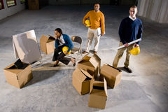 New office space. Multi-ethnic businesspeople preparing new office space Stock Image