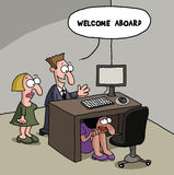 New office worker cartoon gag Royalty Free Stock Image