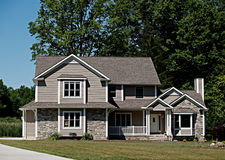 New Ohio Home. Large, newly constructed home in a suburb of Cleveland Ohio stock photos