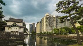 New and Old architectural style seperated by canal. In Tokyo stock images