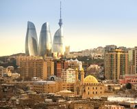 New and Old in Baku City with Mosque Stock Photos