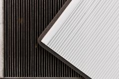 New and old car air filter. Close up. New and old car air filter. Close up Royalty Free Stock Photography