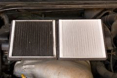 New and old car air filter. Close up. New and old car air filter. Close up Royalty Free Stock Photos