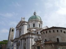 New and Old Cathedrals of Brescia Stock Photos