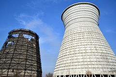 New and old coal storage at power plant Stock Photos