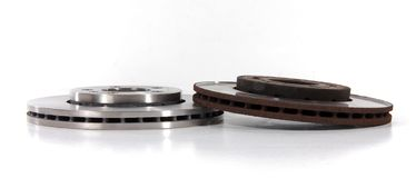 New and Old Disk Brake Rotors Stock Photos