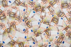 50 new and old euro bills Royalty Free Stock Photo