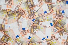 50 new and old euro bills Stock Photography