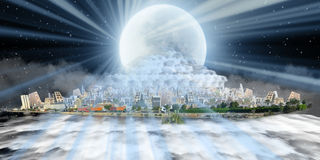 New and old jeddah over sea of clouds at night Royalty Free Stock Images