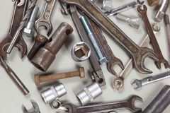 New and old metal tool for repairing machinery closeup. New and old metal tool for repairing machinery close up Stock Photos