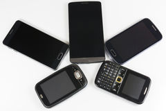 New and old mobile phones Stock Images