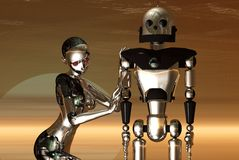 New and old robots royalty free stock photo