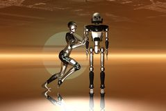 New and old robots royalty free stock photos