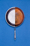 New and old rusted frying pan combined Royalty Free Stock Image